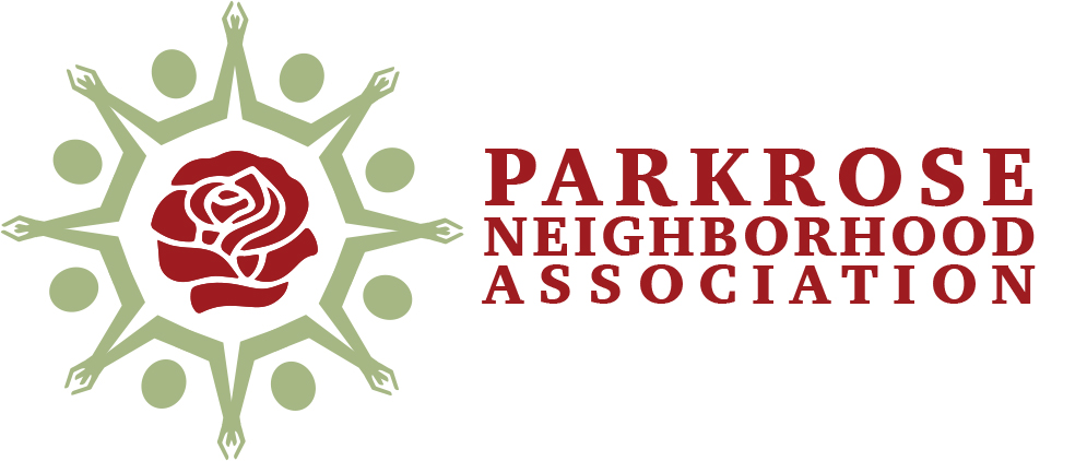 logo: Parkrose neighborhood association with image of rose and hands surrounding